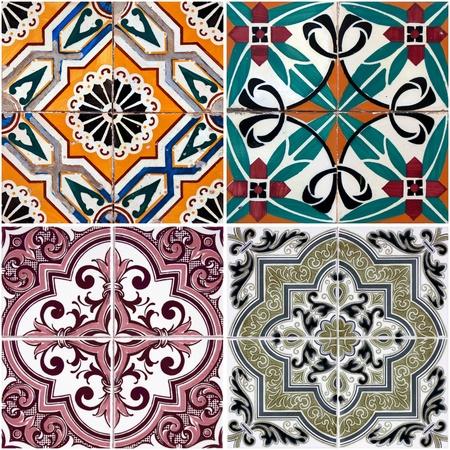 Colorful vintage ceramic tiles wall decoration. Фото со стока