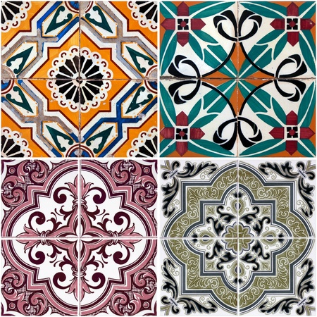 spanish  architecture: Colorful vintage ceramic tiles wall decoration. Stock Photo