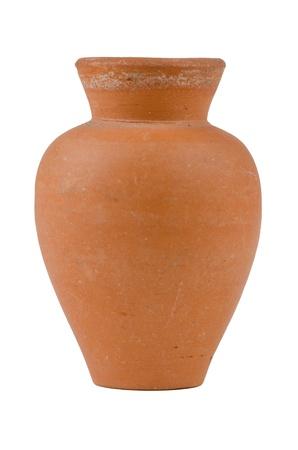 water jug: Old water ceramic vase isolated on white background. Stock Photo
