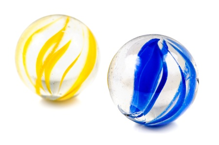 A Pair of Glass Cateye Marbles Isolated on a White Background. Stock Photo - 10045108