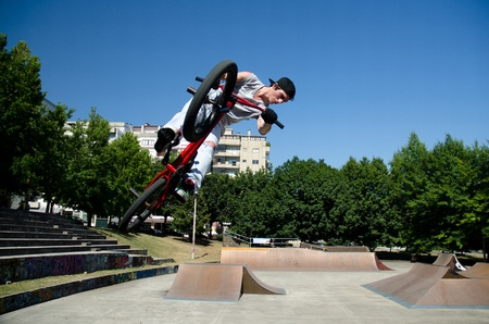 Bmx Table Top on a skatepark.