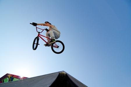 Bmx Table Top on a skatepark. Stock Photo - 10082430