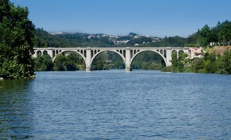 os: Ponte de Pedra, Entre-os-rios, Portugal. Stock Photo