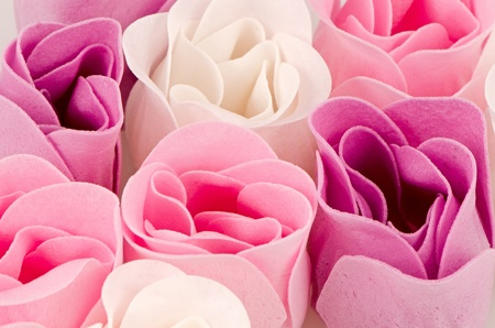 Pink, purple and white beautiful luxury soap roses background. Stock Photo
