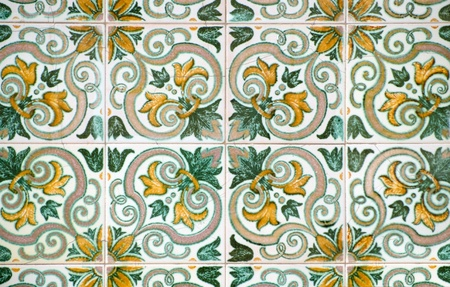 spanish style: Colorful vintage spanish style ceramic tiles wall decoration.