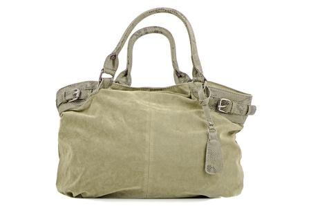 Green woman bag on white background. Stock Photo - 10608965
