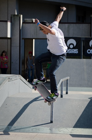 MAIA, PORTUGAL - OCTOBER 08: Alex Neto during the Osiris Maia Skate Challenge on October 08, 2011 in Maia, Portugal.
