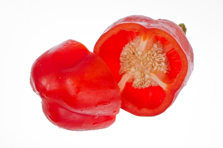 Red pepper close up isolated on white background. photo