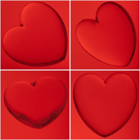 corazon: Four translucent hearts on red background, love concept. Stock Photo