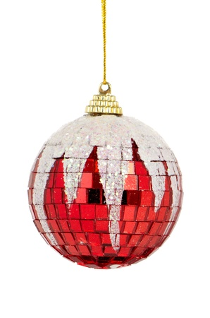 Big red Christmas ball decoration isolated on white background. Stock Photo - 11159420