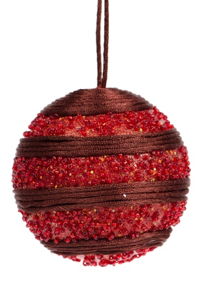 Big red Christmas ball decoration isolated on white background. Stock Photo - 11326090