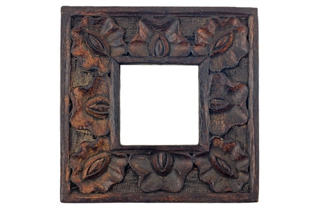 Carved wood picture frame isolated on white background.