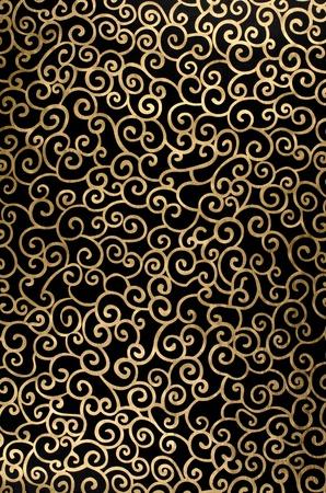 Golden abstract seamless arabesque  on black background. Фото со стока