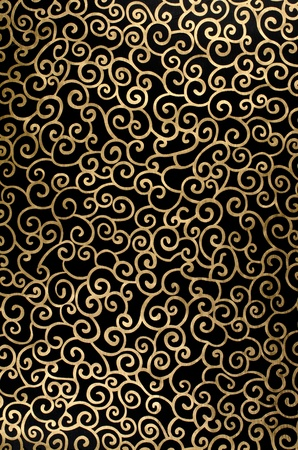tapestry: Golden abstract seamless arabesque  on black background. Stock Photo