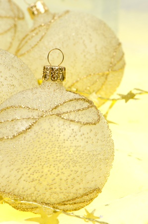 Christmas ball baubles with silver and gold decoration. photo
