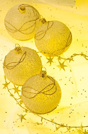Christmas ball baubles with silver and gold decoration. Stock Photo - 11599022
