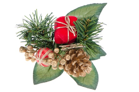 Christmas decorations on white reflective background. Stock Photo - 11599021