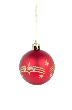 Big red Christmas ball decoration isolated on white background. Stock Photo - 11599029