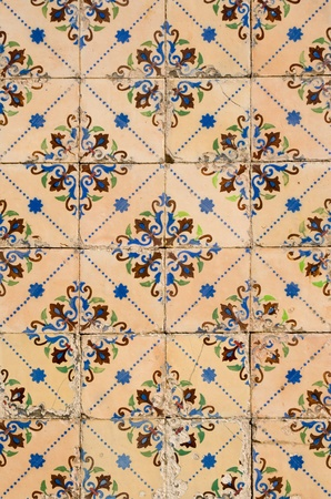 spanish tile: Detail of Portuguese glazed tiles. Stock Photo