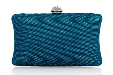 designer bag: Elegant blue clutch bag. Stock Photo