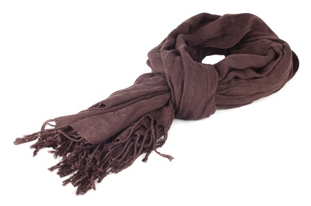 Warm scarf in brown isolated on white background. photo