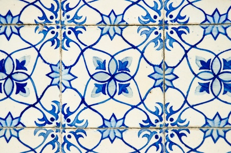 Portuguese azulejos, old tiled blue background. Stock Photo