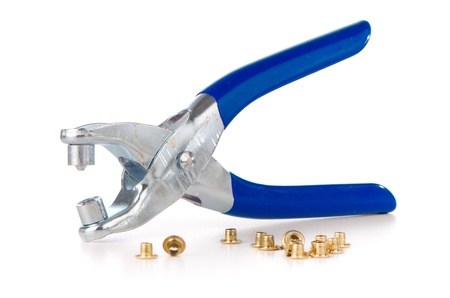 puncher: Tool used to pierce belts and shoes on white background.
