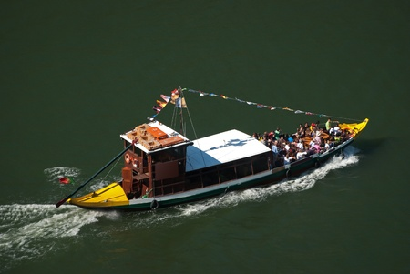 rabelo: Rabelo Boat from Oporto, going up the river Douro in Portugal.