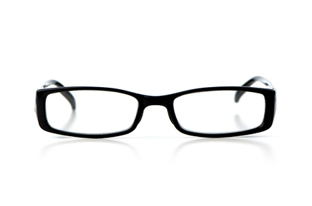 Black eyeglasses on white background.