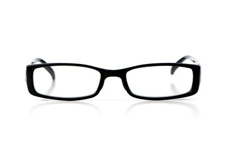 wearing spectacles: Black eyeglasses on white background.