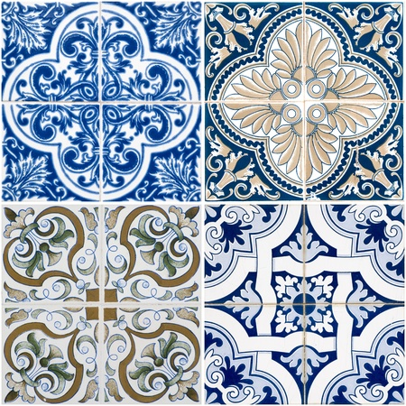 Colorful vintage ceramic tiles wall decoration