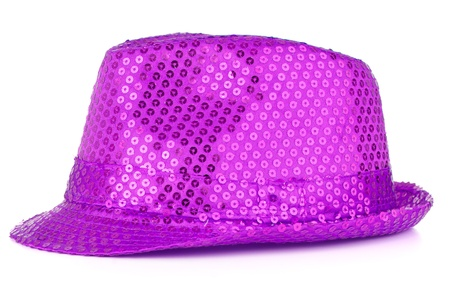Bright paillette hat on white background  photo