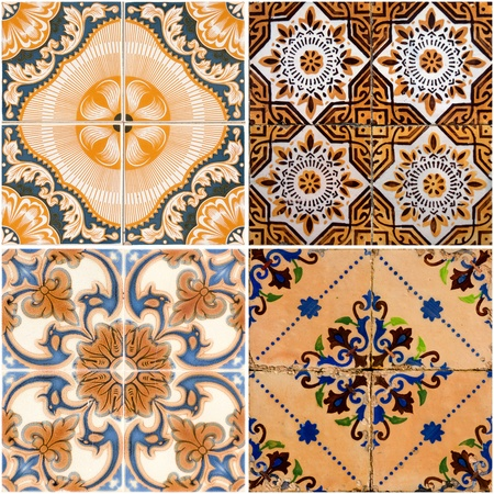 ceramic: Colorful vintage ceramic tiles wall decoration. Stock Photo