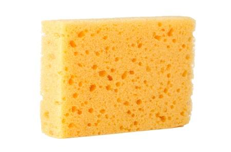 celulosa: Amarillo esponja natural de celulosa facial, aislado en blanco Foto de archivo