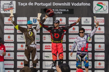 VIANA DO CASTELO, PORTUGAL - MAY 13: Jose Borges, Antonio Pajuelo and Emanuel Pombo at the podium on the 4th Stage of the Taca de Portugal Downhill Vodafone on may 13, 2012 in Viana do Castelo, Portugal.