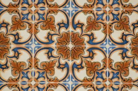 Detail of Portuguese glazed tiles. photo