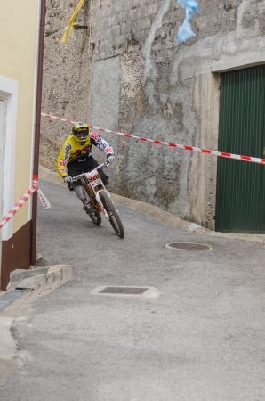 rui: PENACOVA, PORTUGAL - MAY 27: Rui Casimiro during the Taca de Portugal Downhill Urbano Vodafone on may 27, 2012 in Penacova, Portugal.