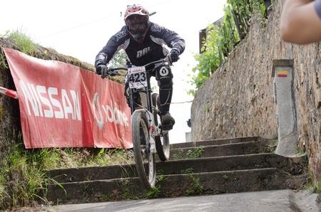 PENACOVA, PORTUGAL - MAY 27: Antonio Rodrigues during the Taca de Portugal Downhill Urbano Vodafone on may 27, 2012 in Penacova, Portugal. Stock Photo - 13824383