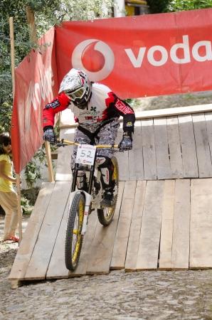 btt: PENACOVA, PORTUGAL - MAY 27: Vitor Esteves during the Taca de Portugal Downhill Urbano Vodafone on may 27, 2012 in Penacova, Portugal.