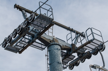 allgau: Mast of a chairlift, on cloudy sky. Editorial