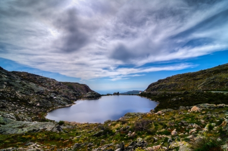 Serra da Estrela, wide landscape view of a lake in Portugal - Europe photo