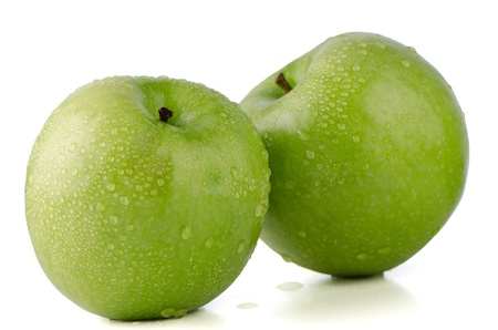 Two fresh green apples on white background. photo