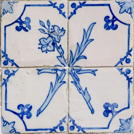 Blue tiles detail of Portuguese glazed. photo