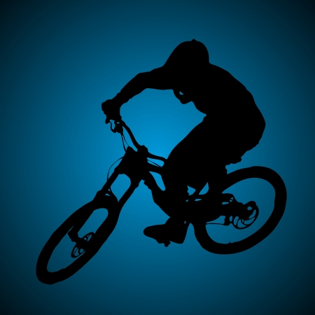 bike ride: Mountain biker turning silhouette illustration