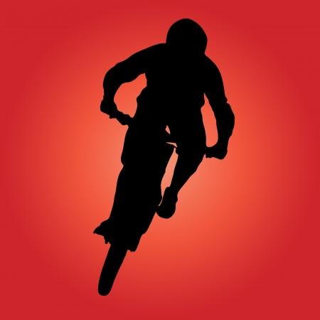 bicycling: Mountain biker turning silhouette illustration. Illustration