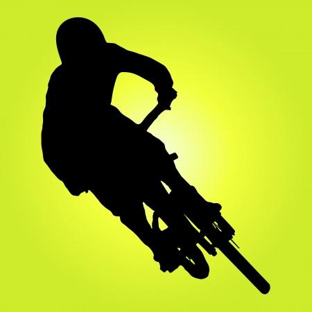 Mountain biker girando illustrazione silhouette