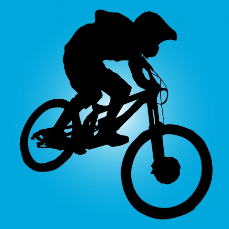 mountain bicycling: Mountain biker turning silhouette illustration