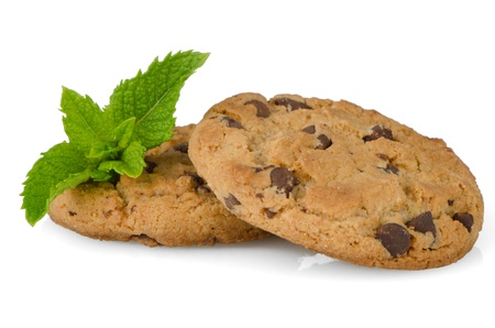 Chocolate cookies with mint leaves isolated on white background. Stock Photo - 14193431