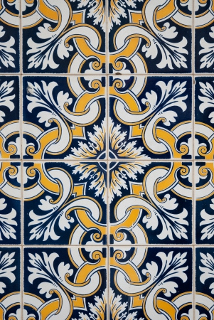spanish tile: Traditional spanish ceramic tiles in yellow, white and blue