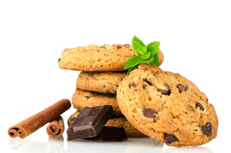 Chocolate chip cookies with chocolate parts isolated on white background. Stock Photo - 14294286